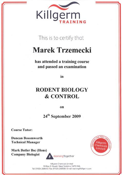 Pest Control Certificate Course - Best Design Sertificate 2018